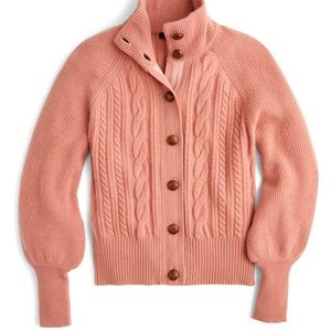 J. Crew Balloon Sleeve Cable Knit Cardigan